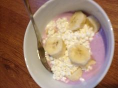 Breakfast: blueberry yoghurt with cottage cheese and banana