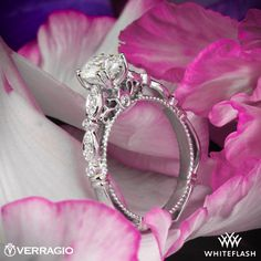 Verragio D 100 Scalloped Diamond Engagement Ring Cameo Necklace, Round Diamonds, Diamond Engagement Rings, Jewlery, Rocks, White Gold, Sparkle, Wedding Rings, Bling