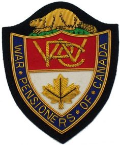 War Pensioners of Canada Association Embroidery Badge / Embroidered Patches Custom Bullion Blazer Badges