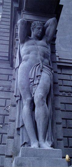 An imposing Atlantes. Доходный_дом_Веге_(Атлант) St. Petersburg, Russia.