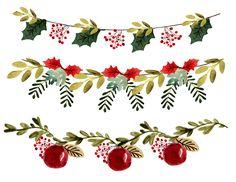 Christmas Drawing, Christmas Art, All Things Christmas, Christmas Card Template, Christmas Printables, Christmas Border, Christmas Clipart Border, Christmas Greenery, Christmas Garlands