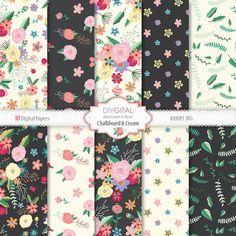 Floral Digital Paper CHALKBOARD & CREAM romantic by DIYgital