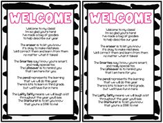 Love these welcome to my class/meet the teacher night ideas.