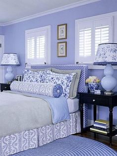 New Room Decor Bedroom Blue Walls Ideas Periwinkle Bedroom, White Bedroom, Bedroom Colors, Bedroom Ideas, Periwinkle Blue, Color Blue, Design Bedroom, Light Purple, Beautiful Bedroom Designs