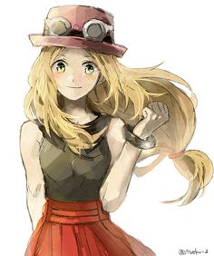 1girl blonde_hair bracelet bust green_eyes hat jewelry long_hair looking_at_viewer low-tied_long_hair pleated_skirt pokemon pokemon_(game) pokemon_xy porkpie_hat red_skirt serena_(pokemon) sketch skirt sleeveless smile solo sunglasses sunglasses_on_head tanisakiho twitter_username white_background