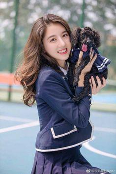 Cute girl and dog Girl Crushes, Cute School Uniforms, School Girl Dress, Cute Girl Photo, Japan Girl, Chinese Actress, Girls Image, Beautiful Asian Girls, Ulzzang Girl