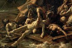 """""""La balsa de la Medusa""""((Le Radeau de la Méduse) Autor: Théodore Géricault 1818-1819 Pintura al óleo - Romanticismo Me ha llamado mucho la atención la dureza de la imagen, dónde podemos comprobar gente moribunda, gente con esperanza por ser rescatada. Da una gran sensación de desesperación."""