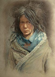 Pencil Portrait Tibetan Boy pencil drawing by William Woo / Shanghai, China Colorful Drawings, Cool Drawings, Pencil Drawings, Drawing Faces, Colored Pencil Portrait, Color Pencil Art, Kunst Online, Pastel Art, Pastel Drawing