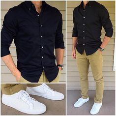 Ideas For Sneakers Outfit Men Casual Leather Jackets Sneakers Outfit Men, Sneakers Fashion, Black Shirt Outfit Men, Sneakers Style, Chinos Men Outfit, Yellow Sneakers, Mens White Sneakers, Lacoste Sneakers, Dress Up
