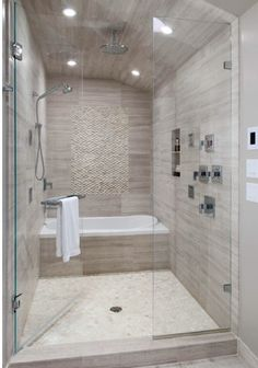 Shower - Athens Silver Cream Marble Tile with Stone Floor
