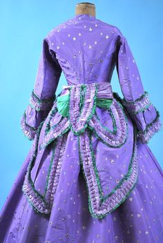 1860 extant lavender gown w/ green trim-back