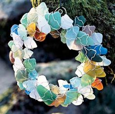 Sea glass wreath. Oh my, this is gorgeous. the colors are spectacular. Everyone needs a sea glass wreath to complement their sea glass style!