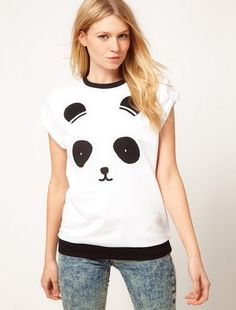 You will look great in a tee with great cotton fabric and decent design. NEW FASHIONS 575097726 - Womens Cotton T-Shirt With Lovely Panda Printed, is made of breathable cotton, which is not only sweat-wicking but durable on the basis of high comfort. Features cute style, crew neck, with lovely panda printed, especially perfect for juniors who are sure to like this tee since it has brilliant choice of both fabric and design.