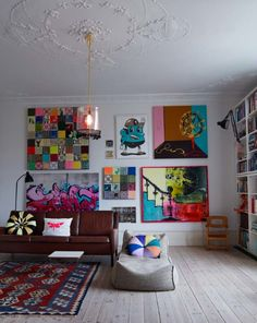 Colorful art on the walls and, look at the ceiling!  What a great design.