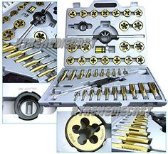 Large 45 Pc Standard Size Sae Nc Nf Tungsten Steel Tap And Die Tool Titanium ** Click image for more details.