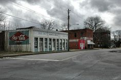 Tennille GA Washington County Early 20th Century Commercial Storefronts Redesigned Coca Cola Mural Photograph Copyright Brian Brown Vanishin...