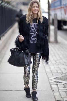 new york fashion week streetstyle glitter pants