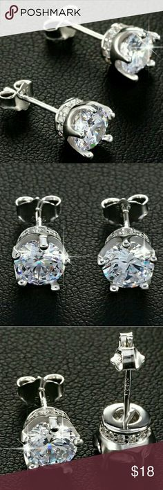 14k White Gold Crown Diamond CZ Stud Earring ✴100% Brand New!!! ✴14k White Gold over Sterling Silver 4MM Diamond Cubic Zirconia Cz Noble Crown Stud Earrings ✴Metal : 925 Sterling Silver Hallmark/Stamped: 925  ✴Closure: Push-Back Butterfly  ✴Stones: High Quality Diamond Cubic Zirconia that Sparkle Glitters Shine  ✴Excellent Clarity  ✴100% Guarantee High Quality ✴100% Lead and Nickel Free ✴Will Not Tarnish or Fade ✴For Men and Women/Unisex  ❤Check Out Our Other Listings For More Styles, Rings…