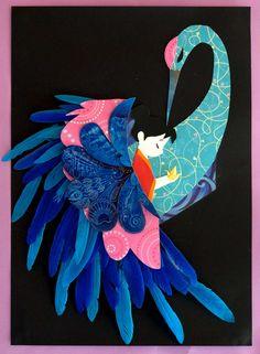 Escultural mural La grulla y Sadako  Obra la para la exposición Mil grullas para la PAZ
