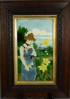 Carl Luber, framed tile, 1900, Art Nouveau maiden picking flowers, ceramic,  10.6 in. H