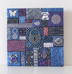 Items similar to Polymer Clay Tile Mosaic Purple/Blue/Silver 6 x 6 Inch Assemblage Mixed Media on Etsy
