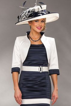 Short navy/cream shift dress & short jacketProduct Code: D154