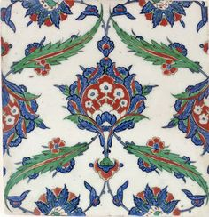 Tile | Origin:  Iznik,  Turkey | Period: ca. 1575  Ottoman period | Details:  The ambitious architectural projects sponsored by  Suleyman the Magnificent reigned (1522A-60) and his ruling elite in the sixteenth century provided the necessary impetus for large-scale production of Iznik tiles.