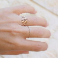 Gold Hamsa Ring 14k gold filled filigree hamsa ring by JulJewelry