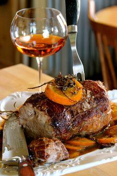Roast Pork in a plum, orange and sherry sauce.  BEAUTIFUL!