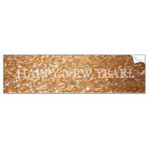 Happy New Year! Copper Glitter Glamour Party Car Bumper Sticker