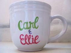 """Groom Gift - Custom Names """"Carl & Ellie"""" Up Mug. $15.50 (seller MenagerieMagique on Etsy)"""