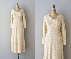 Blessed Damozel dress • vintage 1970s wedding dress • cream lace applique 70s maxi dress