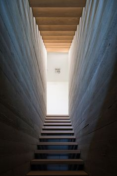 This wood staircase is positioned between two board-formed concrete walls. #ConcreteWalls #WoodStairs