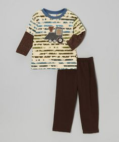 Take a look at this Brown Stripe Train Engine Tee & Pants - Infant & Toddler by cachcach on #zulily today!