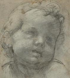 RAFFAELLO SANTI, workshop  (Urbino 1483-1520 Rome)   Head of a child.  Black and white chalk on paper.  171x15.1 cm.     Sold for CHF 38 400