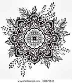 Ručne maľovaná zdobené kvetinovým v korune lístia a palice.  Izolované vektorové ilustrácie.  Pozvánka element.  Tetovanie, astrológia, alchýmie, Boho a magický symbol.  - Vybrať