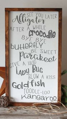 So perfect for a nursery or kids bedroom! See you later alligator sign, nursery decor, children's room wall decor, baby shower gift idea, hand painted framed sign, rustic nursery wall art, rustic decor, farmhouse sign, farmhouse decor, home decor #ad