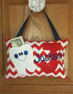 Tooth Fairy Pillow Navy Chevron with Red
