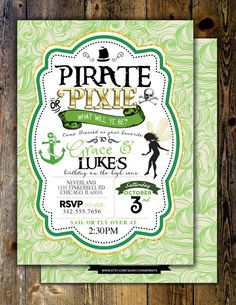 Pirates and Pixie Party Invitations Pirate by LyonsPrints on Etsy