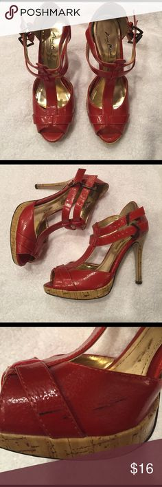 """4"""" Orange Heals 4 inch burnt orange heals.  Scuff on right shoe pictured Anne Michelle Shoes Heels"""