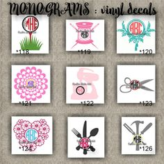 MONOGRAM vinyl decals | name | initial | decal | sticker | car decals | car stickers | laptop sticker - 118-126