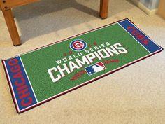 """MY TEAM MATS - Chicago Cubs 2016 World Series Champions Baseball Runner Mat 30""""x72"""", $47.99 (http://www.myteammats.com/products/chicago-cubs-2016-world-series-champions-baseball-runner-mat-30x72.html)"""