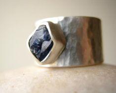 Rough Raw Apatite Ring in Sterling Silver Medium by metalmorphoz