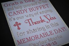 Baptism Candy Buffet Sign / Candy Bar Sign / by TwinPerfection2