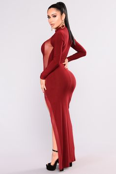 Available In Black And Burgundy Mock Neck Side Slit Detail Long Sleeve Maxi Gown Sheer Side Panel Made In USA Polyester Spandex Burgundy Fashion, Velvet Gown, Nice Dresses, Formal Dresses, Janet Guzman, Maxi Gowns, Long Sleeve Maxi, Hot Dress, Sexy Outfits