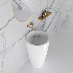 Annelie Stone Freestanding Cylinder Basin 500mm - Fast delivery available on your bathroom products Modern Pedestal Sink, Outside Steps, Bathroom Basin, Small Bathroom, Bathrooms, Stone Basin, Wash Hand Basin, White Polish, Bathroom Interior Design