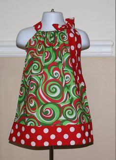 5c46d2e8c55e1 Christmas swirl chevron pillowcase dress girls Christmas outfit red, green,  white polka dot handmade