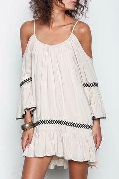 Apricot Off The Shoulder Spaghetti Strap Embroidered Dress
