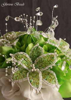 Lime Green Beaded Flower Bouquet by Glorious Beads~  http://stores.ebay.com/Glorious-Beads-Wedding-Flowers