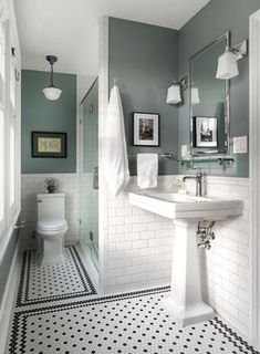 adding dark green bathroom interior tiles to your bathroom 1 Black And White Tiles Bathroom, White Bathroom Decor, Bathroom Design Small, Bathroom Interior Design, Small Bathroom Paint, Bathroom Paint Colors, Interior Livingroom, Victorian Bathroom, Vintage Bathrooms